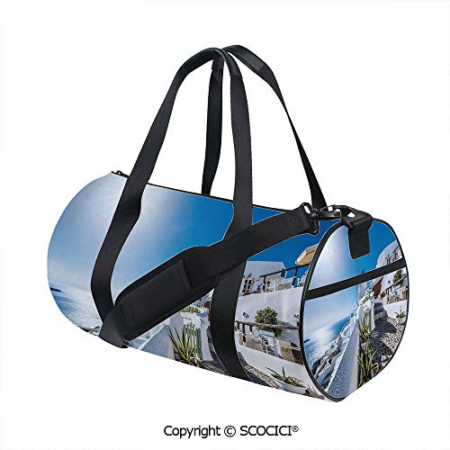 Crossbody Bags for Women Men,Ancient Oia Village in Santorini Island Greece with Aegean Sea Scenery ImageBarrel Bag for Women and Men,(17.6 x 9 x 9 in) Blue and White