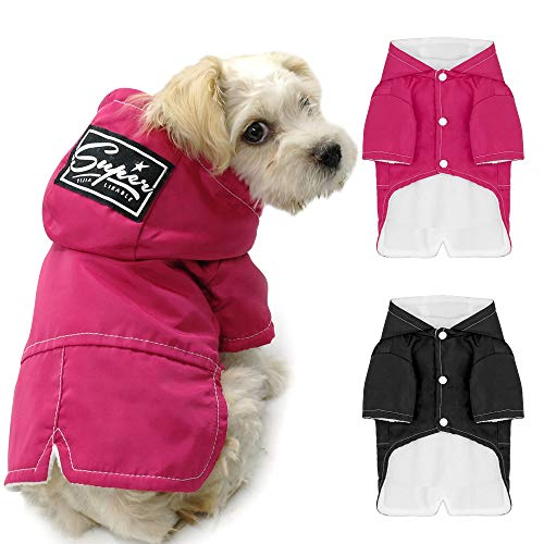 Beirui Dog Cold Weather Coats Dogs Clothes - Fleece Lined Parka Sports Dogs Jacket Windproof Lightweight Pet Winter Coat Warm Dog Apparel for Small Medium and Large Dogs,Back for 8.5
