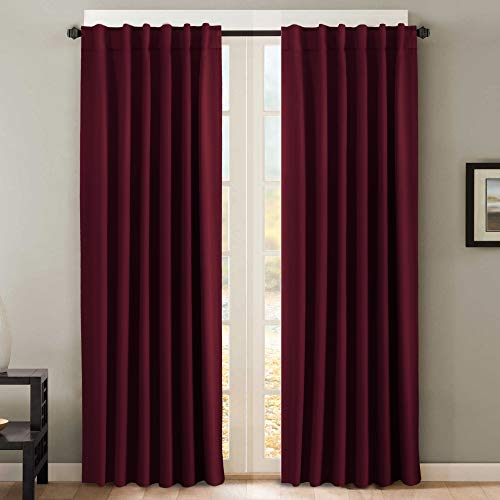 (H.VERSAILTEX Blackout Curtain Panels for Bedroom, Nursery Essential Thermal Insulated Solid Back Tab/Rod Pocket Drapes (Burgundy Red, Set of 2,52 x 84 Inch))