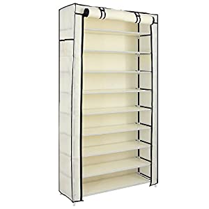 SONGMICS 10 Tiers Shoe Rack with Dustproof Cover Closet Shoe Storage Cabinet Organizer Mocha URXJ36K