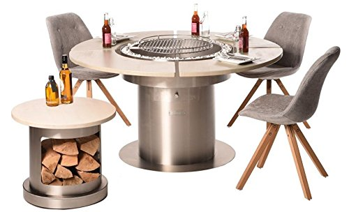 Fargau Feuer Mesa de comedor – Barbacoa – Brasero 3 en 1 ...