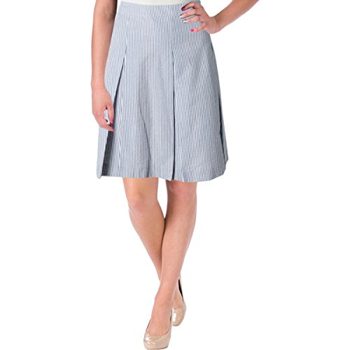 Nine West Women's Seersucker Pleated Skirt, Navy/White, 10