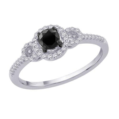 Center Black and White Diamond Promise Ring in 10K White Gold 1 2 cttw Li