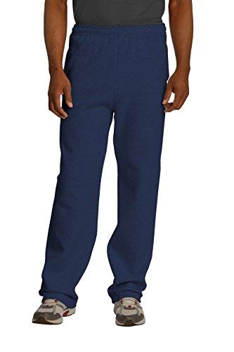 Sportoli174; Men's Essential Basic Open Bottom Lightweight Fleece Jogger Sweatpants - Navy (Size X-Large)