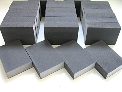 16 x MEDIUM WET AND DRY SANDING BLOCK ABRASIVE FOAM SANDPAPER PAD GRIT 100 // 120 16 BLOCKS by DOMS DIY DIRECT c only