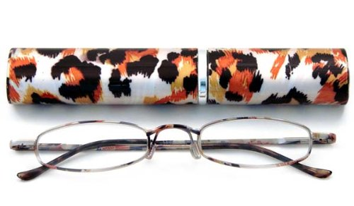 Calabria 790 Animal Print Tube Reading Glasses w/ Matching Case Style D - In Tube Glasses Reading