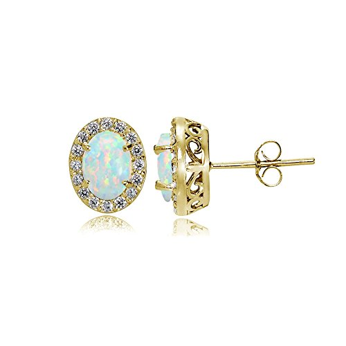 Yellow Gold Flashed Sterling Silver Simulated White Opal and Cubic Zirconia Accents Oval Halo Stud Earrings - Gold Oval Opal Earrings