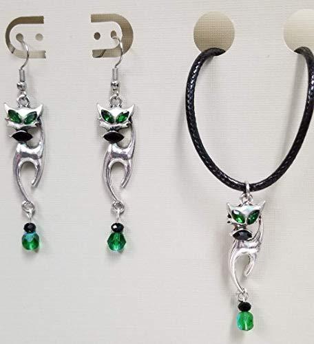 Green Eye Cat Charm Bead Earring (Fish Hooks) & Necklace Set ()