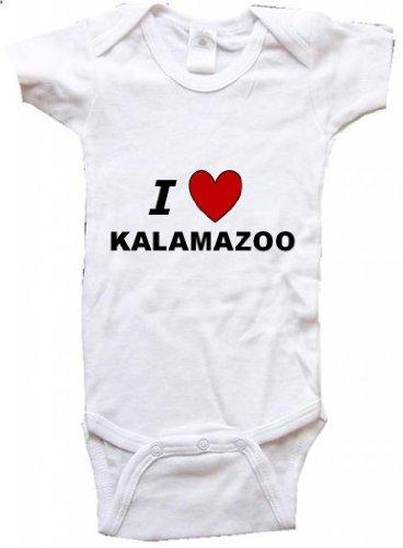 I LOVE KALAMAZOO - KALAMAZOO BABY - City Series - White Baby One Piece Bodysuit - size Medium (City Livonia)