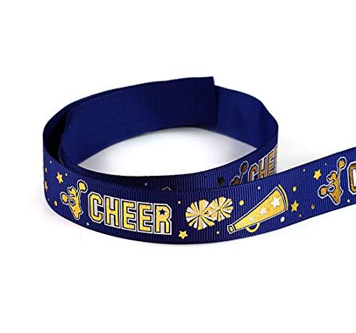 (Grosgrain Polyester Ribbon Gold Sparkle Cheerleader Spirit Sport Cheer Team Ribbon 10 Yards 7/8