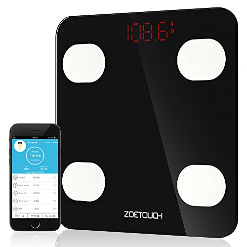 Bluetooth Body Fat Scale, ZOETOUCH Smart Digital Bathroom Weight Scale with iOS and Android APP Wireless Body Composition Analyzer Fitness Health Monitor Capacity Up to 180 kg /396 lbs, (Best Body Fat Scale)