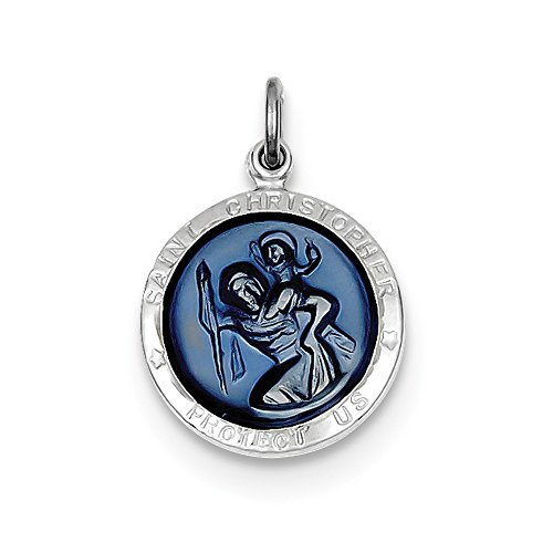 925 Sterling Silver Blue Epoxy St  Christopher Medal  20Mm X 15Mm