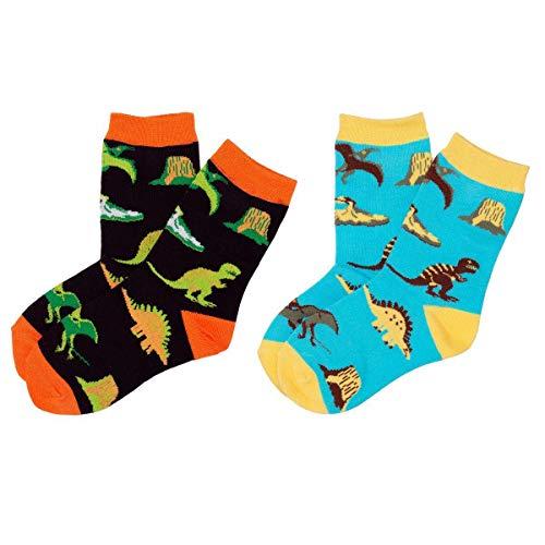 (Dinosaur World Toddler Boys Crazy Socks - T-Rex Volcano Novelty Dress Crew Socks )