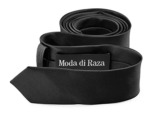 Moda Di Raza- Mens Skinny Slim Neck Tie - Silk Finish Polyester Men Necktie - Solid Color Long Ties for Men - Fashion Tie - Black (Solid Black Necktie Silk)