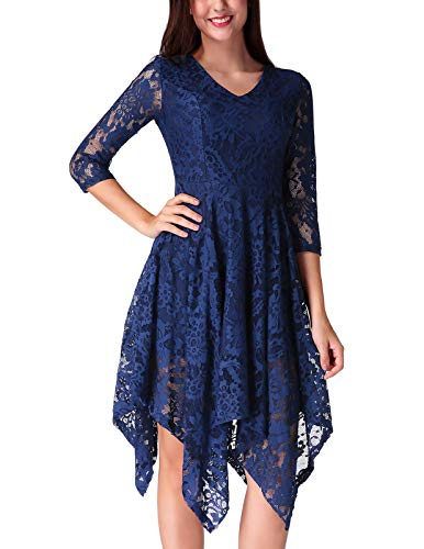 - CHICIRIS High Waist Hidden Zipper Handkerchief Evening Party Cocktail Dress for Women Navy Blue Size M