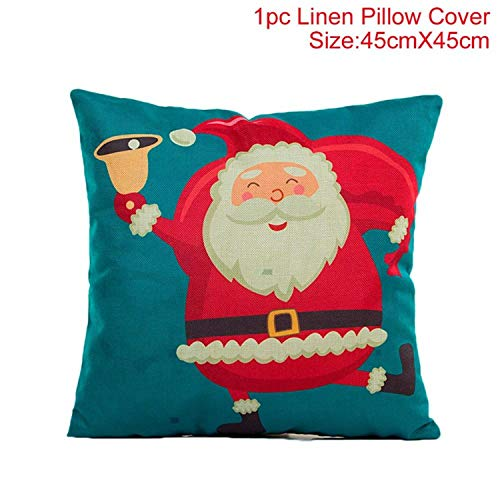 Price comparison product image JEWH 45x45cm Cotton Linen - Merry Christmas Cover - Cushion Christmas - Decorations for Home - Happy New Year - Decor 2019 Xmas Gifts - Style 16