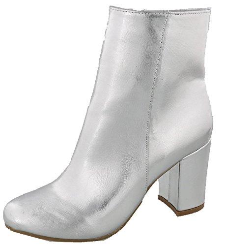 - Top Moda Women's Mid Calf Stacked Block Heel Bootie (5 B(M) US, Silver)