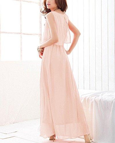 Noche Largo Pink la Maxi de Elegante Vestidos de de Playa Sin Ligero ZhuiKun Vestido Vestido Vestido Mujer Mangas Cóctel 7BExZ1q