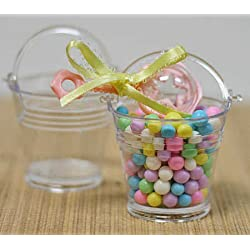 Mini Clear Plastic Favor Pails - Package of 24 - For Shower Favors