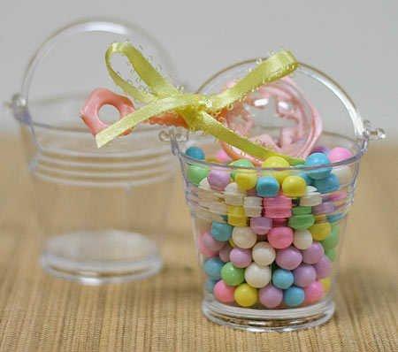Mini Clear Plastic Favor Pails - Package of 24 - For Shower (Plastic Favor Pail)