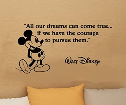 walt disney mickey mouse dreams can come true wall quote vinyl wall