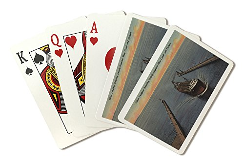 Duluth, MN - View of Freighter Entering Ship Canal (Playing Card Deck - 52 Card Poker Size with ()