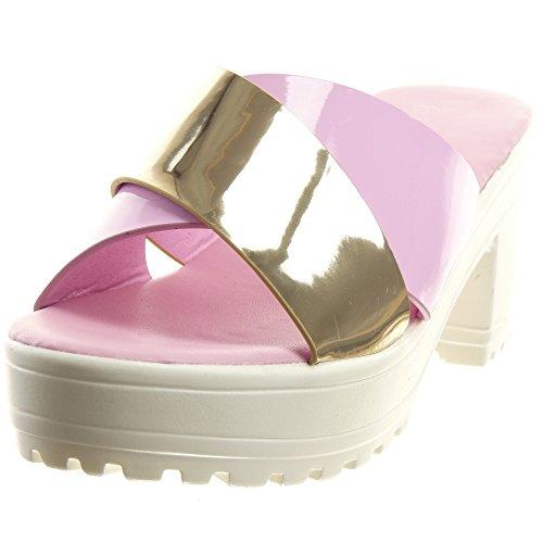Sopily - Chaussure Mode Sandale Ouverte Plateforme Cheville femmes Brillant verni Talon haut bloc 7 CM - Violet