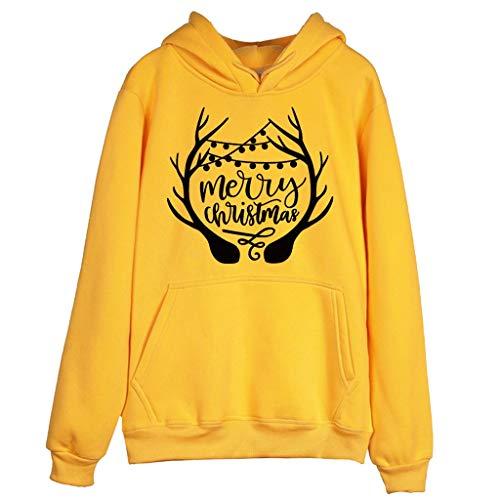 YOcheerful Chrisrmas Sweatshirt Women Casual Ultra Soft Pullover Letter Print Full Sleeve Hooded Loose Blouse Yellow