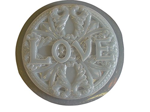 Round Love Stepping Stone Concrete Plaster Mold ()