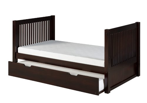 Camaflexi Mission Style Solid Wood Tall Platform Bed with Trundle, Twin, Cappuccino