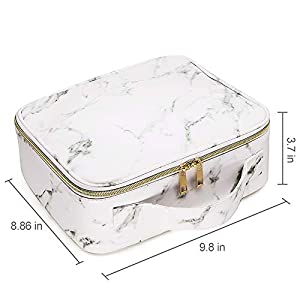 Marble Makeup Organizers and Storage,LKE Cosmetic Bags Waterproof Marble Travel Makeup Train Case Jewelry Travel…