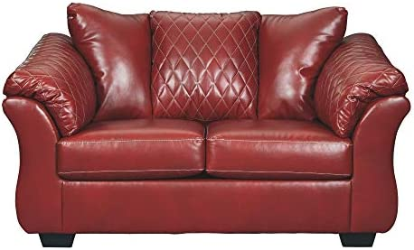 Signature Design by Ashley – Betrillo Faux Leather Loveseat, Salsa Red