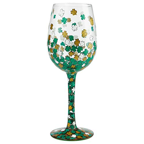 Enesco 6006950 Designs by Lolita Shamrock Hand-Painted Artisan Wine Glass, 15 Ounce, Multicolor