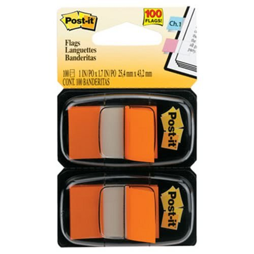 Standard Page Flags in Dispenser, Orange, 100 Flags/Dispenser, Sold as 100 Each ()