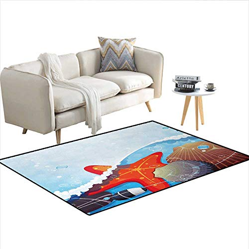 Carpet,Foaming Ocean Waves Graphic with Scallops and Seastar and Pebble Stones Bubbles,Non Slip Rug Pad,MulticolorSize:48
