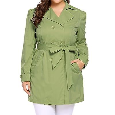 Vansop Women's Plus Size Double-Breasted Trench Coat With Belt(L-XXXL)