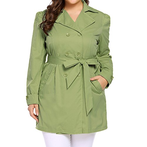 Womens Short Trench - Vansop Women's Daily Plus Size Double-Breasted Trench Coat With Belt(Army Green,XL)