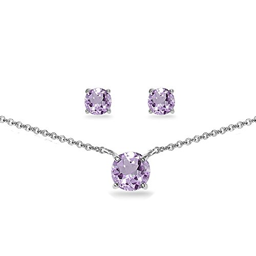 Amethyst Gemstone Set Jewelry - GemStar USA Sterling Silver Amethyst Round Solitaire Choker Necklace and Stud Earrings Set
