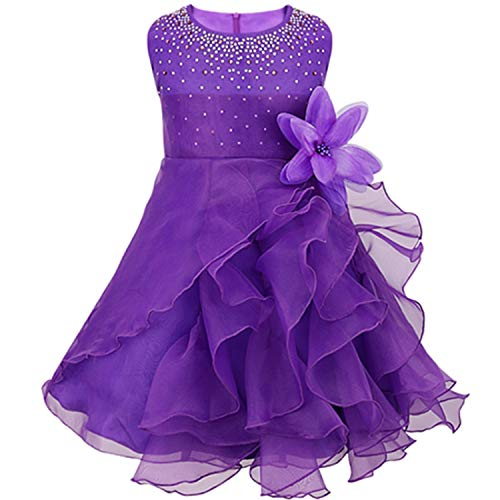 Infantil Baby Girls Wedding Dress Baptism Gown Pageant Dress with Pearls Toddler Kids Princess Party Clothes Purple 6M -