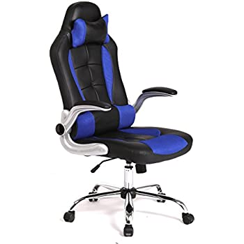 BestMassage Office Desk Gaming Chair High Back Computer Task Swivel Executive Racingchair for BackSupport with Lumbar Support Adjust Armrest, Black