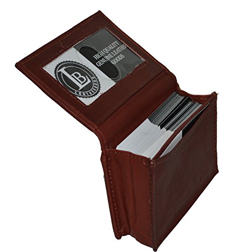 New 100% Leather Bi-fold Credit Card Holder Black #70 (Brown)