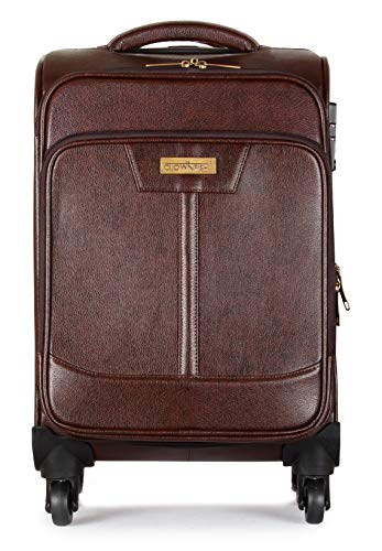The Clownfish Path Breaker Leatherette 20 Inch Coffee Softsided Suitcase Check in Luggage Trolley Bag