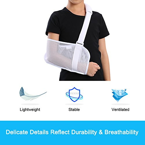 Medical Breathable Mesh Arm Sling(11.811 in) Shoulder Support Belt with Adjustable Strap, Injured Forearm Supporter Cuff Wrist Elbow Brace Immobilizer Fracture Protector for Children Kids, White