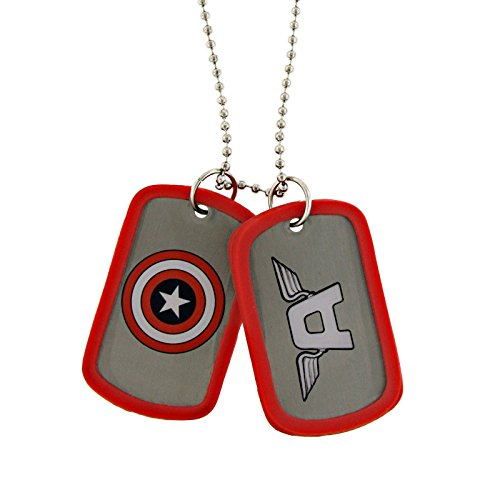 Marvel Comics Captain America Red White and Blue Iconic Shield Red Double Dog Tag Necklace 1021 from Jewel M