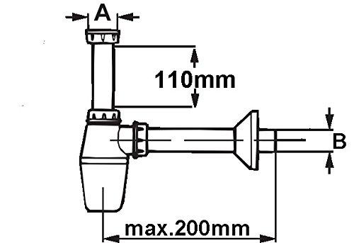 1/1//4/pulgadas x 40/mm 1/pieza pl/ástico Cornat lavabo tazas de olores para cierre t3174061