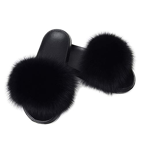 Yu Li Women Real Fox Fur Feather Vegan Leather Open Toe Single Strap Slip On Sandal (8B(M) US, Black)]()