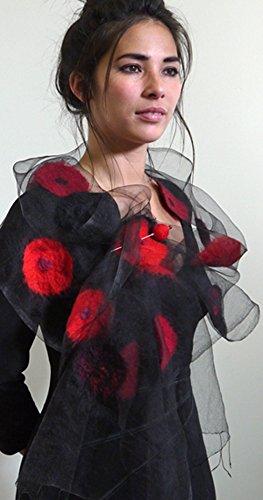 ''Dahlia Nuno Shawl'' handwoven pure silk organza shawl with hand-felted merino wool design 15'' x 85'' by Alarte Silks