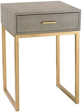 Govea 14″ W Gray Faux Shagreen and Gold 1-Drawer Side Table