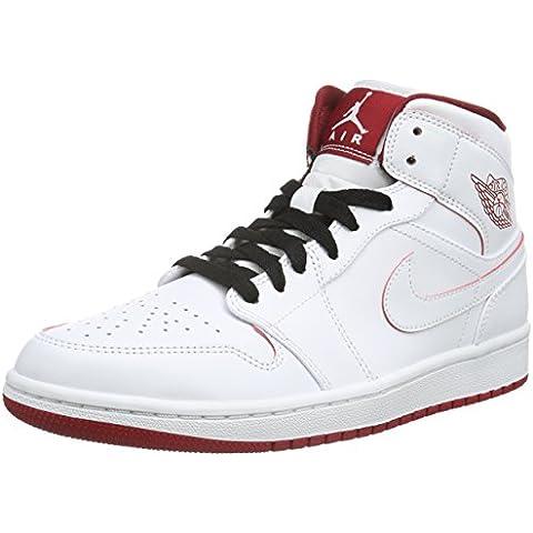 1a6d4bb44ff Nike Men s Air Jordan 1 Mid White Black Gym Red Basketball Shoe - 13 D(M) US