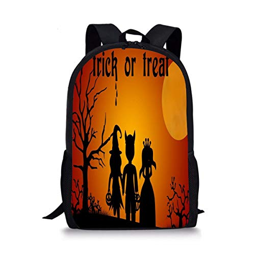 ISFHJbackbagAD Halloween costumes for kids - Trick or treat on dark night Fashion Printing Backpack For Big Boys Girls Polyester Durable -